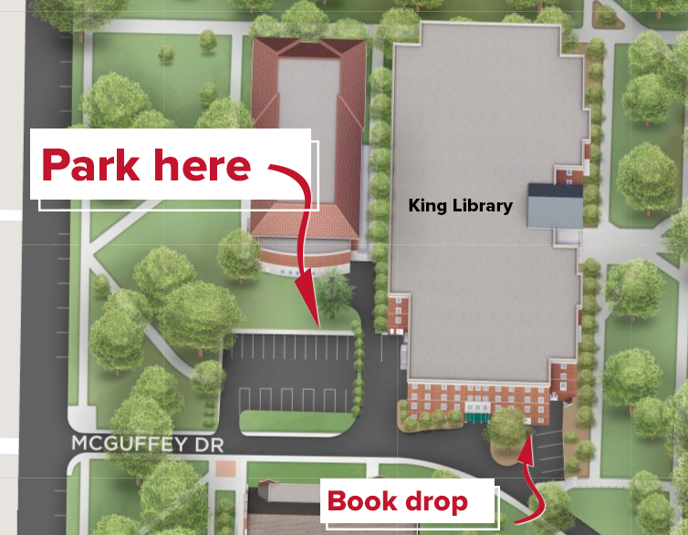 Map showing McGuffey Street parking and Book Drop locations at King Library