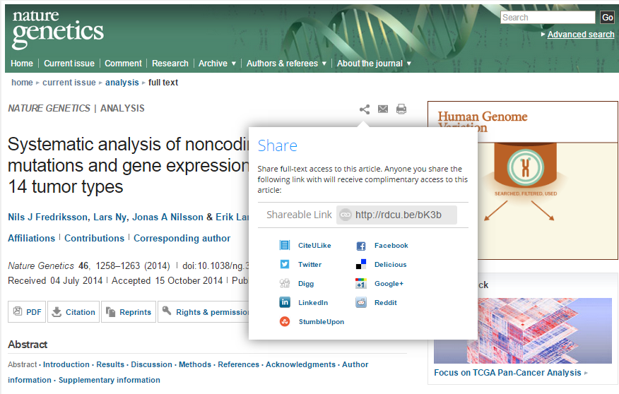 Screenshot of Nature Genetics content sharing feature