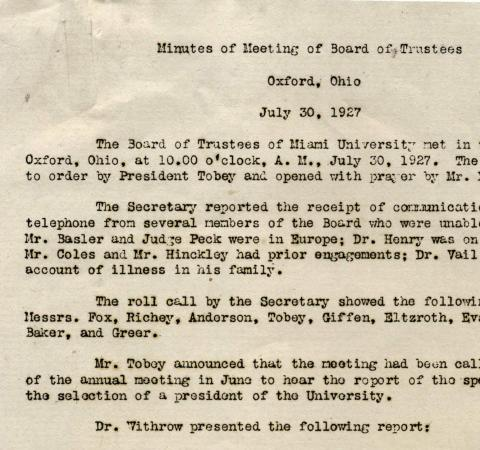 Meeting minutes from Board of Trustees meeting July 1927