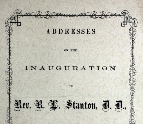 Cover of Addresses of the inauguration of Rev. Stanton