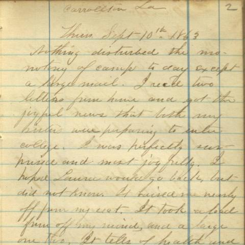 Page from Civil War diary